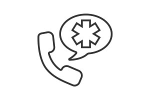 Emergency phone call to hospital. Linear icon