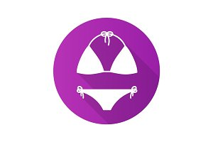 Swimsuit flat design long shadow glyph icon