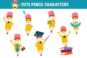 Cute Pencil Characters