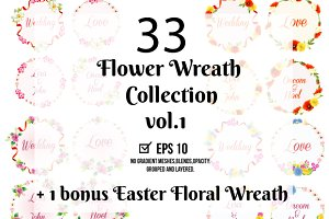 33 Flower Wreath Vector Collection