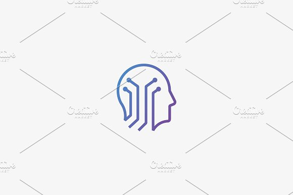 Human Head Brain Vector Logotype Tech Mind Electronic Education Logo Icon