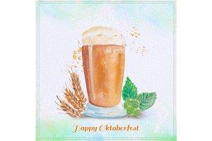 Watercolor beer glass illustration