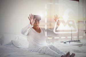 Older Woman With VR Headset Mockup