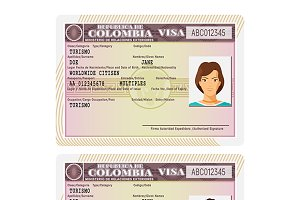 Colombia visa stamp template