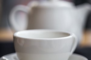 white tea Cup close-up