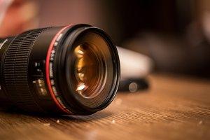 lens for the camera closeup