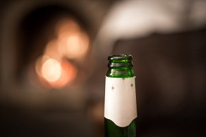 beer glass bottle closeup