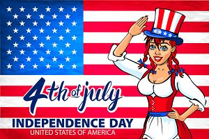 Independence Day 4th July USA girl