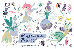 Midsummer Fairies PNG Clip Art