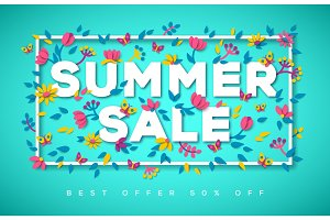 Summer Sale typography on blue background