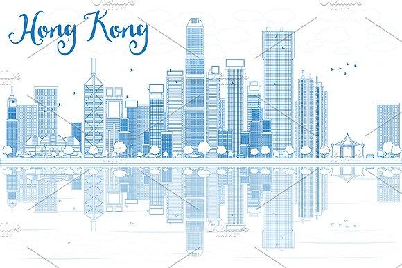 Outline Hong Kong Skyline