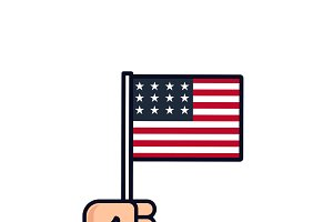 4th July. Patriotic icon. Independence Day of America. label. Hand with american flag isolated on white background. National celebration. Flat line design.