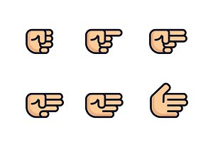 Cartoon hands set. Different gestures of fist. Isolated illustration. Flat line design.
