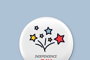 Steel round badge set. Patriotic brooch. 4th of july. Independence Day of America. Realistic mockup.