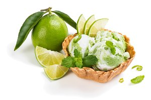 Lime ice cream and fruit