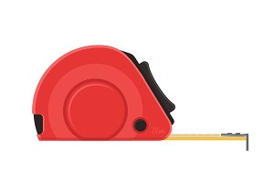 Self-retracting tape measure. Red ruler. flat icon.
