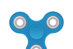 Hand spinner. Blue color. Realistic illustration isolated on white background. Top view.