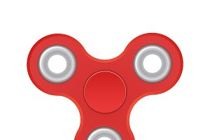 Hand spinner. Red color. Realistic illustration isolated on white background. Top view.
