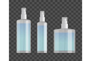 cosmetic spray bottles set isolated on checkered background. Small, big and wide bottles. Realistic vector design.