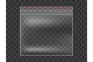 Plastic Transparent bag isolated on checkered background. Realistic vector mockup.