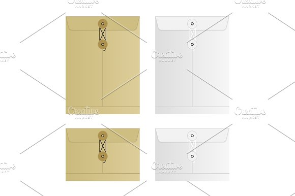 Tied Sealed Letter Envelopes Set Isolated On White Background Collection Of The Vector Envelope Templates Brown Yellow And White Colors Top View