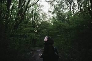 Girl in the Forest Road