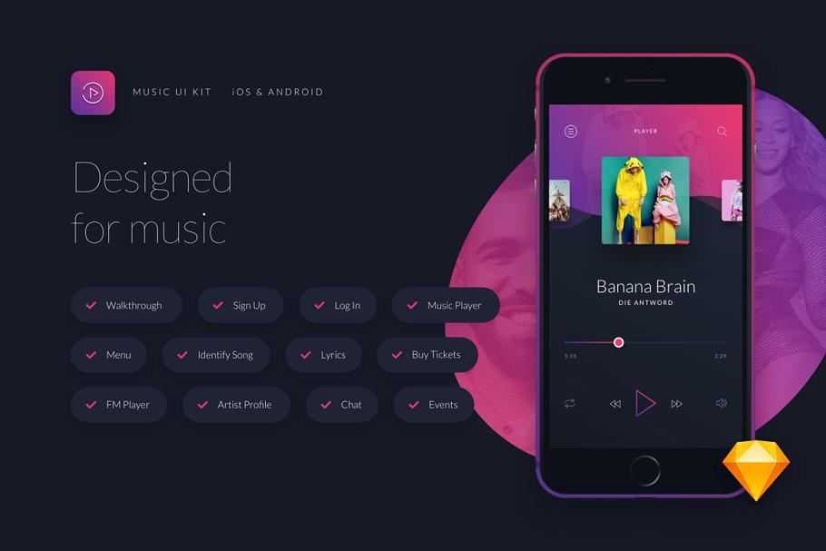 Music UI/UX Mobile App Kit ~ UI Kits and Libraries ~ Creative Market