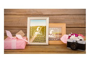 Framed pictures With gift mockup