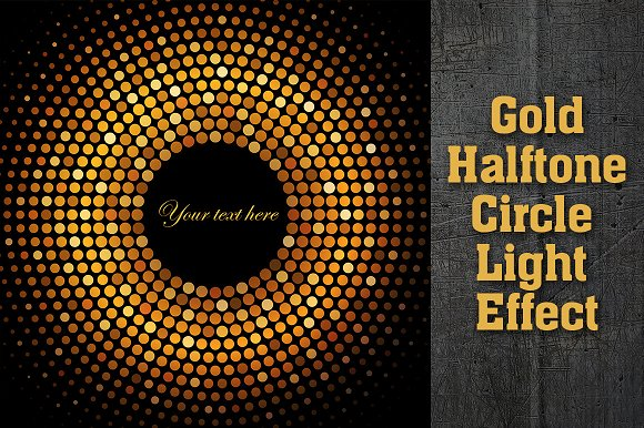 Gold Disco Halftone Light Effect