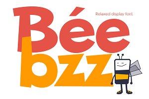 Beebzz. Child kid fun font. Display.