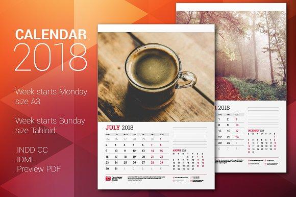Wall Calendar 2018 Stationery Templates Creative Market