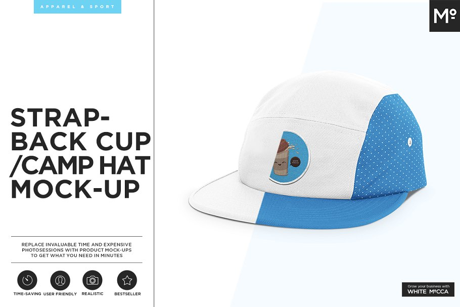 c589c029c4859 Strapback Cap   Camp Hat Mock-up ~ Product Mockups ~ Creative Market