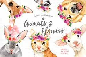 Animals & Flowers Watercolor Clipart