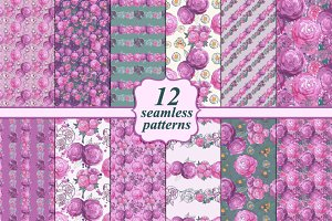 Set of 12 seamless floral patterns