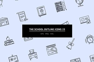 The School Outline Icons 25