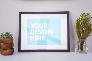 Framed Picture With Plants Mockup