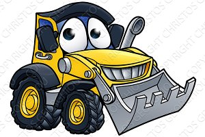 Cartoon Character Digger Bulldozer