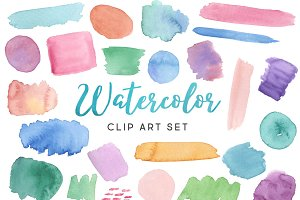 Watercolor Swash Clip Art Set