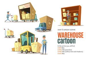 Warehouse Cartoon Set