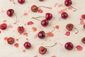 fresh ripe picked cherries