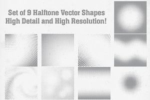 Abstract Halftone Shapes Set
