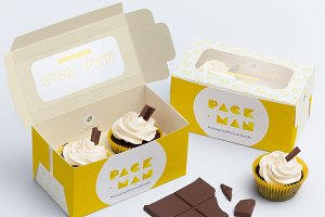 Two Cupcake Box Mockup 01