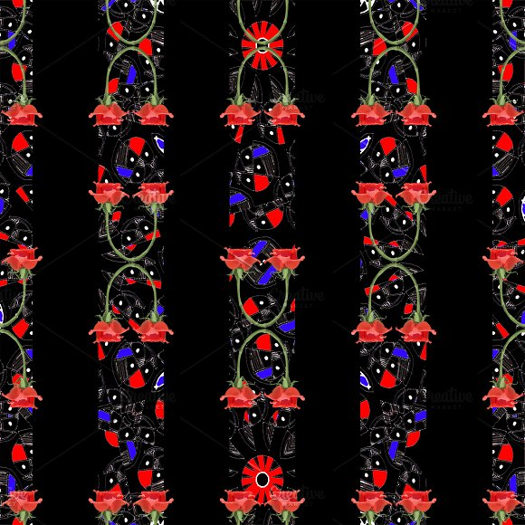 Exotic Stripes Floral Modern Collage Pattern