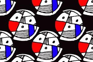 Geometric Hand Draw Seamless Pattern Mosaic