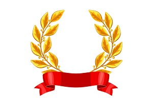 Realistic gold laurel wreath.