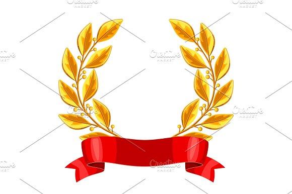 Realistic Gold Laurel Wreath