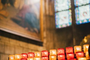 Candles inside the Notre Dame