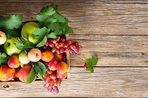 Crate of fresh fruits