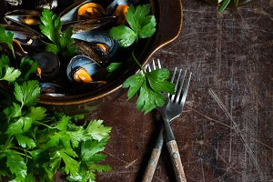 Boiled mussels, above view.