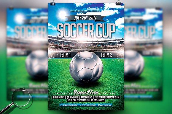 soccer cup modern flyer template flyer templates creative market